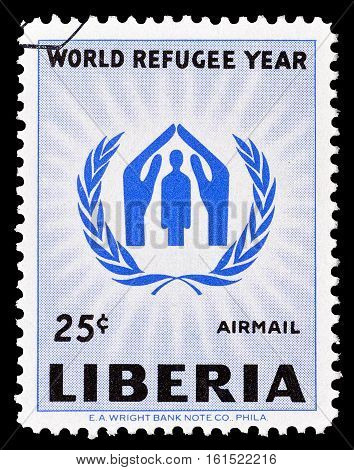 LIBERIA - CIRCA 1960 : Cancelled stamp printed by Liberia, that shows Refugee emblem.
