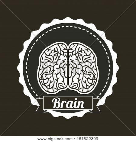 seal stamp with human brain icon over black background.  vector illustraiton