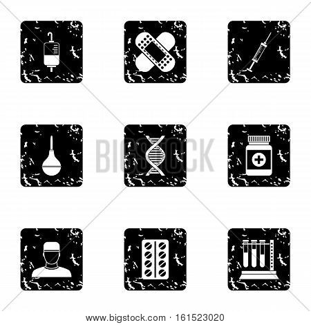 Diagnosis icons set. Grunge illustration of 9 diagnosis vector icons for web