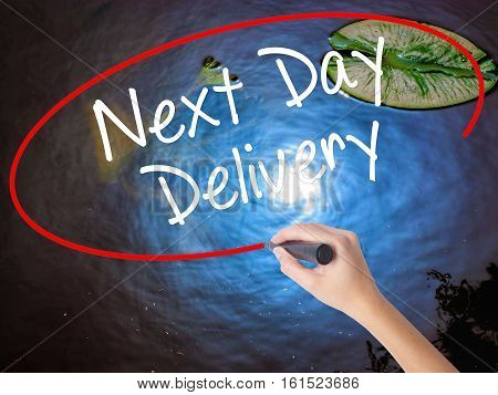 Woman Hand Writing Next Day Delivery With Marker Over Transparent Board.