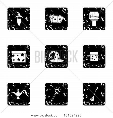 Tricks icons set. Grunge illustration of 9 tricks vector icons for web