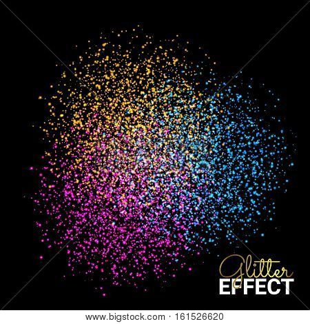Abstract Colorful Burst Effect of Colors Paint Splash Glitter on Dark Background. Element for your design. Vector illustration.