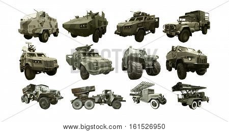Set of military equipment on white background