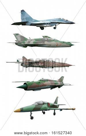 Collage of military airplanes on white background