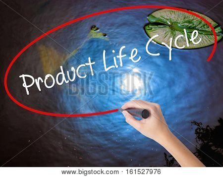 Woman Hand Writing Product Life Cycle With Marker Over Transparent Board.