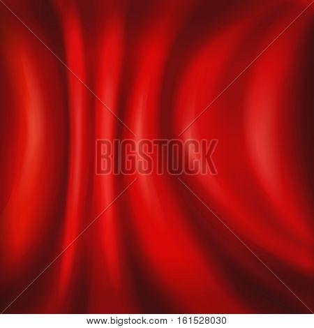 Red satin silk velvet curtains or draperies background. Vector illustartion