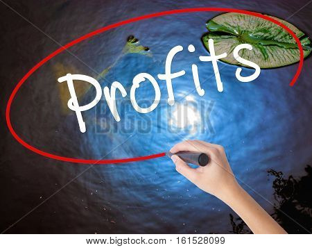 Woman Hand Writing Profits With Marker Over Transparent Board.