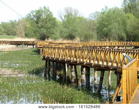 wooden foot bridge set in a nature park in Slavonia