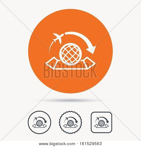 World map icon. Globe with arrow sign. Plane travel symbol. Orange circle button with web icon. Star and square design. Vector