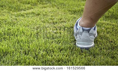 Walking for health sport shoes closeup outdoors, person, power, sidewalk,