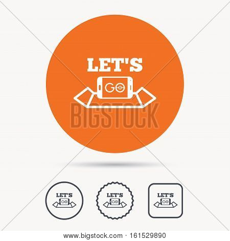 Smartphone icon. Let's Go symbol on map. Pokemon game concept. Orange circle button with web icon. Star and square design. Vector