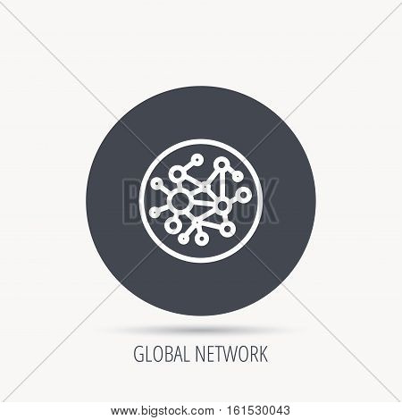 Global network icon. Social connections sign. Round web button with flat icon. Vector