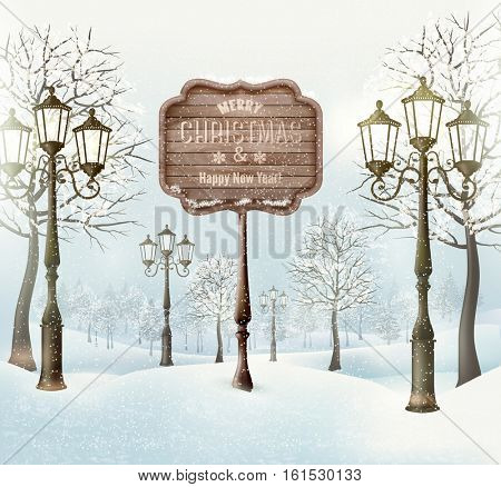 Christmas winter landscape with lampposts and wooden sign.