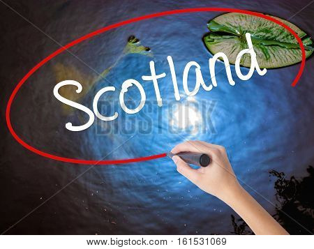 Woman Hand Writing Scotland With Marker Over Transparent Board.