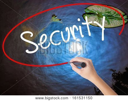 Woman Hand Writing Security With Marker Over Transparent Board