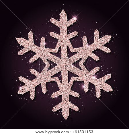 Pink Golden Glitter Marvelous Snowflake. Luxurious Christmas Design Element, Vector Illustration.