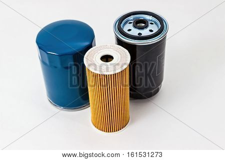 Car oil filter  on a white background isolated.  Auto Parts. Spare parts for the repair of cars.