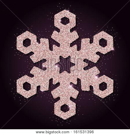 Pink Golden Glitter Ideal Snowflake. Luxurious Christmas Design Element, Vector Illustration.