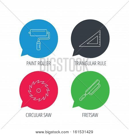 Colored speech bubbles. Triangular rule, paint roller and fretsaw icons. Circular saw linear sign. Flat web buttons with linear icons. Vector