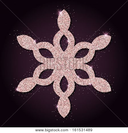 Pink Golden Glitter Dazzling Snowflake. Luxurious Christmas Design Element, Vector Illustration.