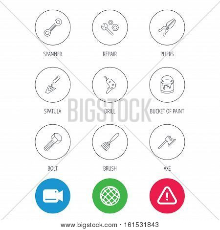 Spanner repair tool, spatula and bolt icons. Bucket of paint, axe and brush linear signs. Drill, pliers flat line icons. Video cam, hazard attention and internet globe icons. Vector