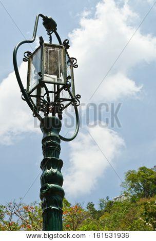 Vintage street light or pole light with blue sky