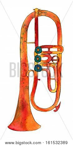 A freehand watercolor drawing of a trumpet on white background
