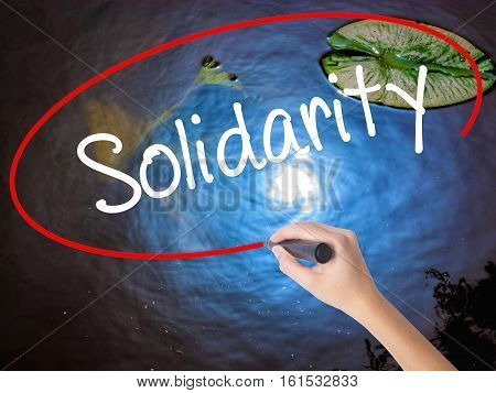 Woman Hand Writing Solidarity  With Marker Over Transparent Board