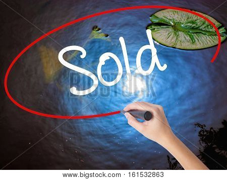 Woman Hand Writing Sold With Marker Over Transparent Board
