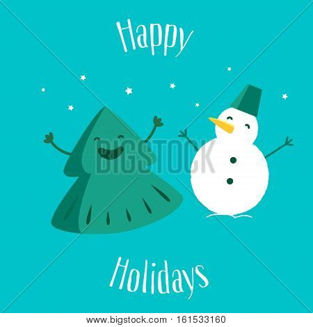 Fun Christmas tree with snowman. Happy Holidays. Greeting card. Vector illustration.
