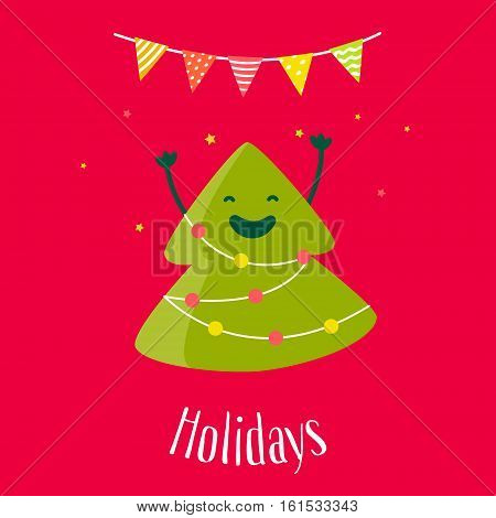 Greeting card with fun christmas tree and garland with with flags. Flat design. Vector illustration.