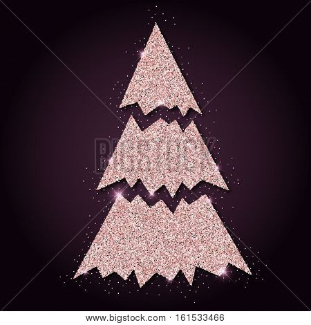 Pink Golden Glitter Marvelous Christmas Tree. Luxurious Christmas Design Element, Vector Illustratio
