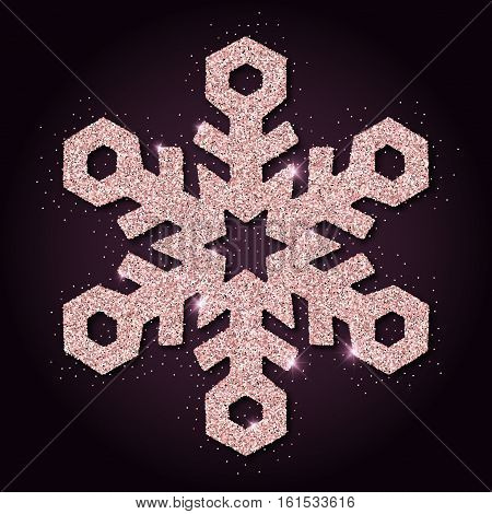 Pink Golden Glitter Admirable Snowflake. Luxurious Christmas Design Element, Vector Illustration.