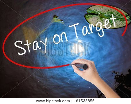 Woman Hand Writing Stay On Target With Marker Over Transparent Board.