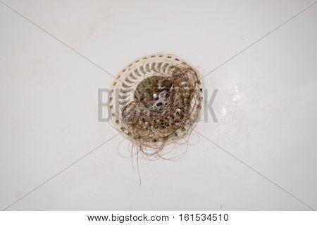 Bath plug hole blocked with dirty hair