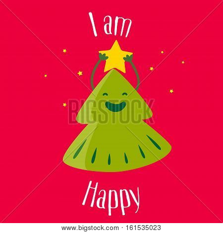 Fun Christmas tree with star on red background. I am happy. Vector illustration.