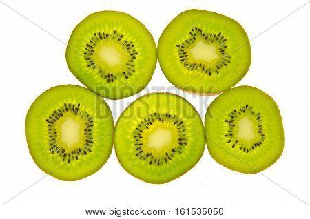 Closeup of Kiwi Fruit Slices as Background