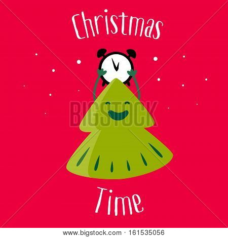Fun Christmas tree with clock and snow on red background. Christmas time. Greeting card. Vector illustration.
