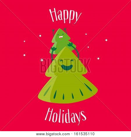 Fun Christmas tree with little tree on top. Happy Holidays. Greeting card. Vector illustration.