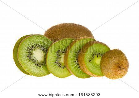 Kiwi Fruit Slices isolate on white background
