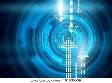 Digital conceptual image of arrows and round interface on blue square mesh background
