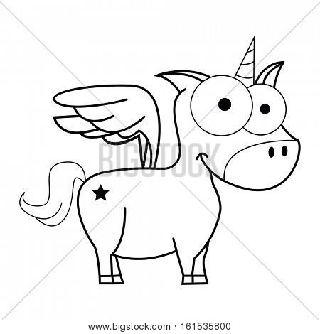 cute little unicorn isolated on white