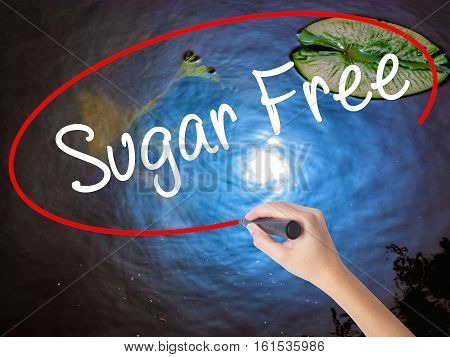 Woman Hand Writing Sugar Free With Marker Over Transparent Board