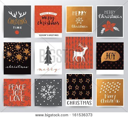 Merry Christmas illustration with different symbols