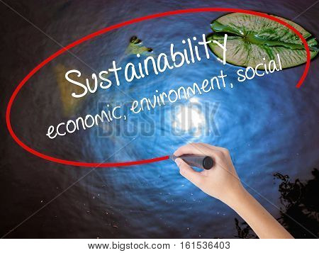 Woman Hand Writing Sustainability  Economic, Environment, Social With Marker Over Transparent Board