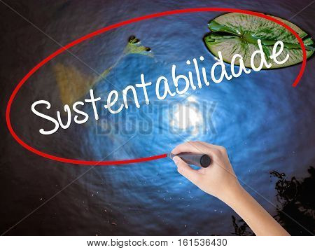 Woman Hand Writing Sustentabilidade (in Portuguese - Sustainability) With Marker Over Transparent Bo