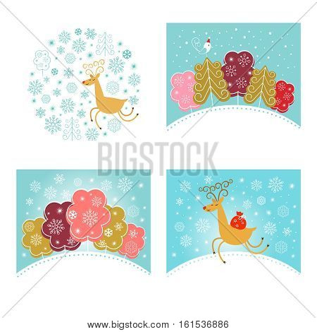 Christmas design elements set. New year greeting cards