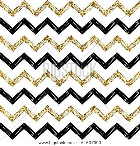 Seamless pattern of black gold zigzag chevron, golden and black zig zag striped background, hand painted vector design for textile, wallpaper, web, wrapping, save the date, wedding, card, paper poster