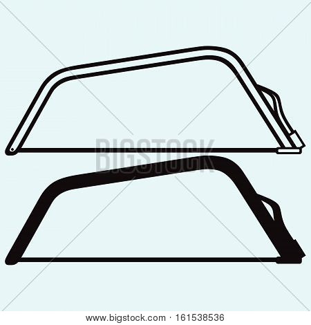 Saw for cutting metal. Isolated on blue background. Vector silhouettes