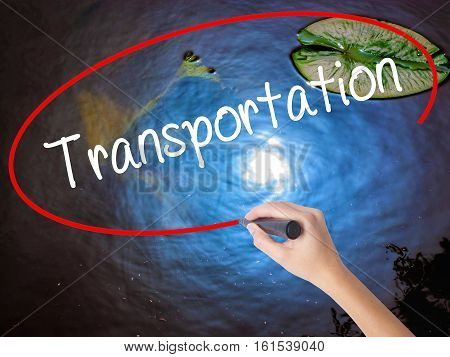 Woman Hand Writing Transportation With Marker Over Transparent Board.